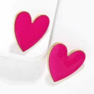 NWT Earrings Large Pink + Gold Heart Stud (Black)